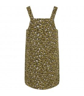 Yellow dress for girl with animalier details