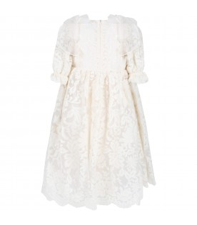 Ivory dress for girl with bows