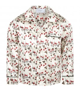 Ivory shirt for girl with strawberry