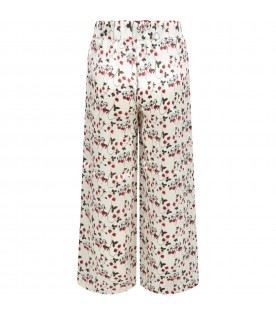 Ivory trousers for girl with strawberries