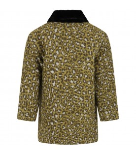 Multicolor coat for kids with animalier print