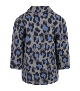 Gray jacket for kids with animalier details
