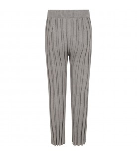 Gray trousers for girl with green lurex details
