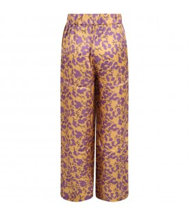 Yellow trousers for girl with purple flowers