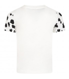 White T-shirt for kids with Dalmatian print