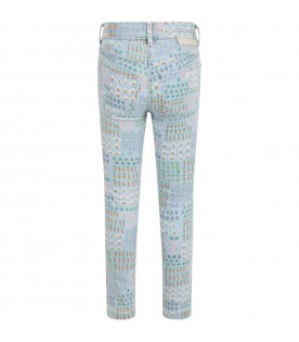 Light-blue jeans for babykids with colorful designs