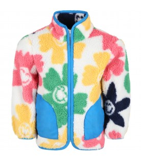 White sweatshirt for kids with colorful flowers