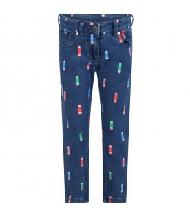 Blue jeans denim for girl with colorful pencils