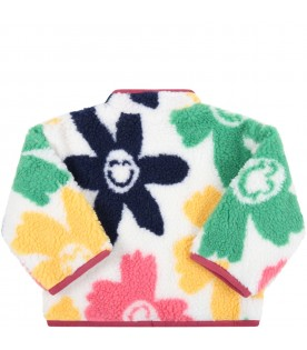 White sweatshirt for babykids with colorful flowers