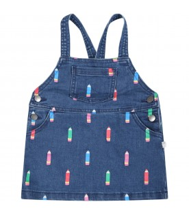 Blue dungarees for baby girl with colorful pencils