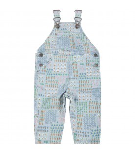 Light-blue dugarees for babykids with colorful prints