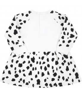 White dress for baby girl with Dalmatien prints