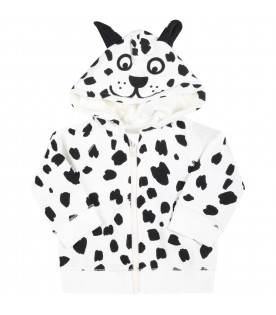 White tracksuit for babykids with Dalmatian print