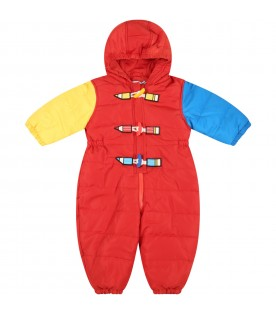 Red jumpsuit for babykids with pencils