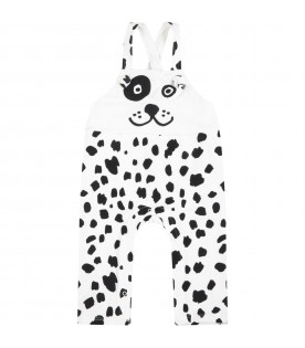 White dungarees for kids with Dalmatian print