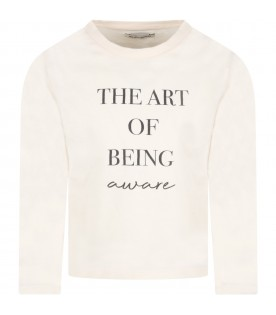 Ivory ''The art of tee'' t-shirt for kids with writing