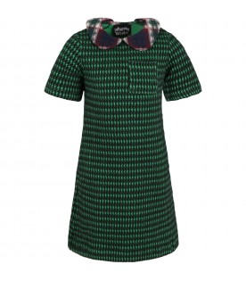 Multicolor dress for girl with multicolor collar