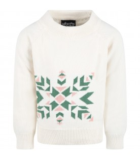 Ivory sweater for girl with pink and green details