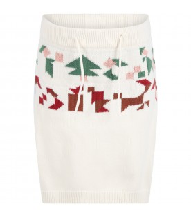 Ivory skirt for girl with colorful details