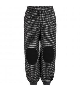 Black sweatpants for kids with patch