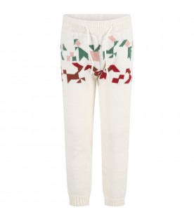 Ivory sweatpants for kids with colorful details