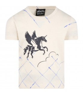 Beige T-shirt for kids with unicorn