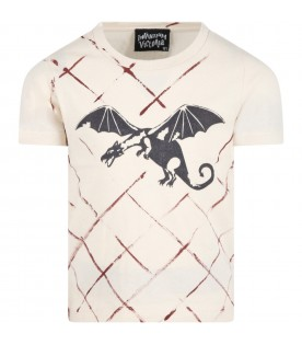 Beige T-shirt for kids with dragon