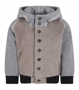 Gray jacket for kids with dragon