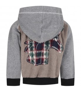 Gray jacket for kids with unicorn