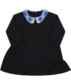 Black dress for baby girl with multicolor collar