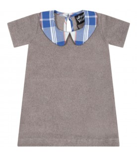 Gray dress for baby girl with blue checked collar
