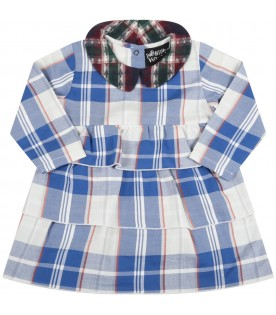 Light-blue dress for baby girl with multicolor collar