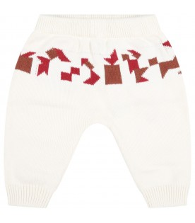 Ivory sweatpants for babykids with colorful details