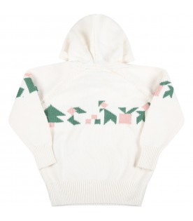 Ivory sweatshirt for baby girl with colorful details