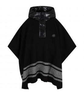 Black poncho for kids with logo