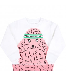 Multicolor tracksuit for baby girl with poodle
