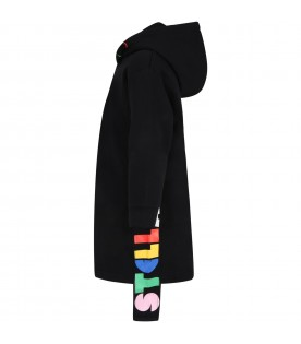 Black dress for girl with logos