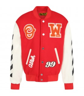 Red jacket for kids with patches