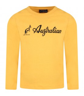 Yellow t-shirt for boy with logo