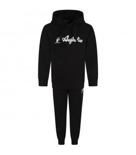 Black tracksuit for boy with logo