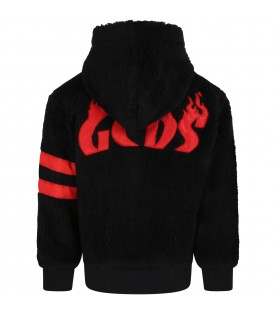 Black jacket for kids with red logo