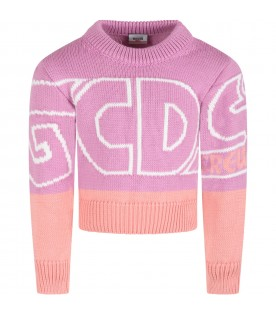 Lilac sweater for girl with white logo