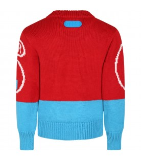 Red sweater for kids with white logo