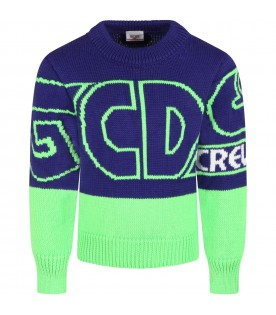 Purple sweater for kids with green logo