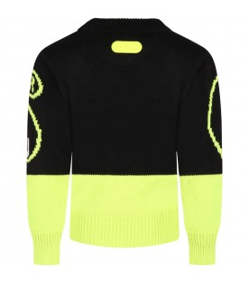 Black sweater for kids with yellow logo