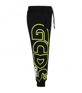 Black sweatpants for kids with yellow neon logo