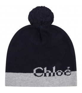 Blue hat for girl with logo