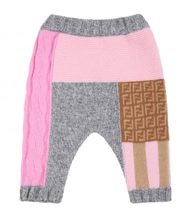 Multicolor trouser for baby girl with double FF