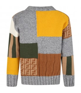 Multicolor sweater for boy with black logo