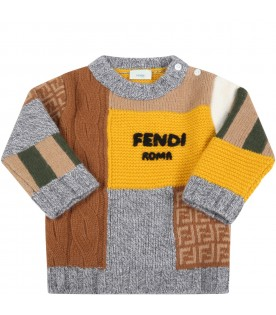 Multicolor sweater for baby boy with black logo